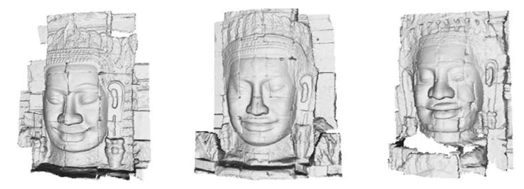 Three examples of carved faces in the Bayon temple. These models were used to classify the 173 acquired stone faces in three groups.