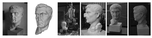 An example of a rapid prototyping project, developed by CNR-ISTI in collaboration with the company Scienzia Machinale (www.smrobotica.it). Left to right: the original artifact, the 3D model obtained using laser triangulation, the prototyping machine in action, the reproduction during an intermediate stage, and the final results.