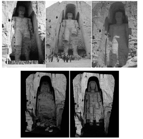 Digital reconstruction of the Bamiyan Buddhas. Top: a sample set of the images used for reconstruction. Bottom: the model of the niche without and with the reconstructed model.