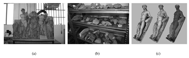 (a) and (b) A physical recomposition of a small subset of the fragments of the Frontone of Luni [37]; at the same time, many sherds still wait to be reassembled. (c) A rendering of the digital model of one of the statues, its colored version according to the current color of the statue, and a painted model reconstructed according to evidence of its possible original colors.