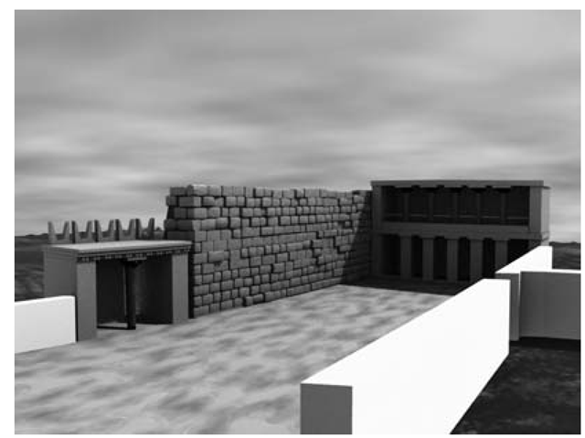 3D reconstructive model of the open area between the village and the Villa with the virtual reconstruction of the Propylon, the facade of the Bastion and the Stoa.