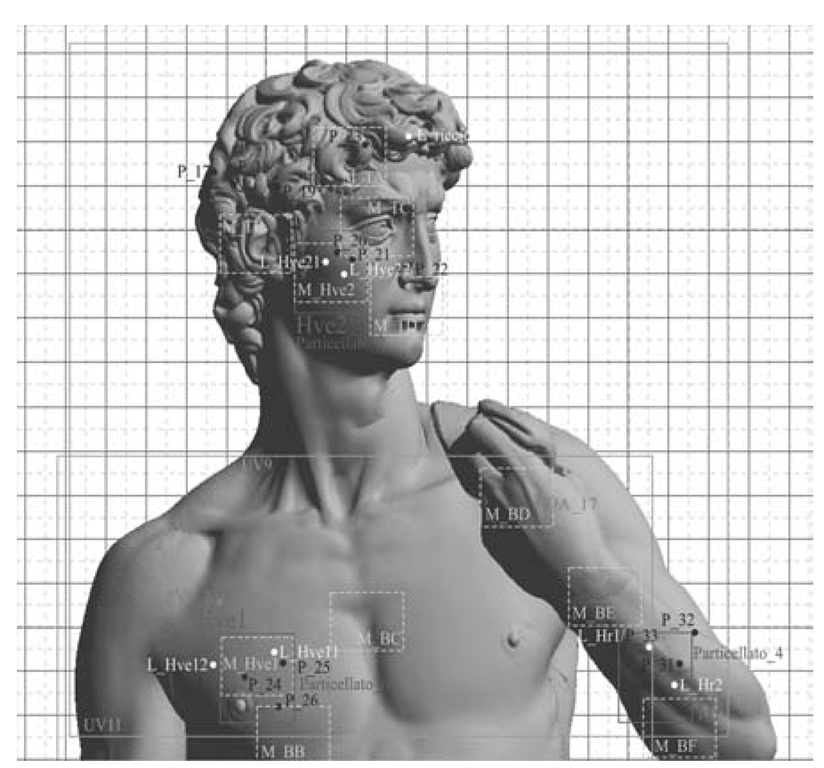 The digital model is used as an index to the scientific investigations performed on selected points or on subregions of the statue's surface.