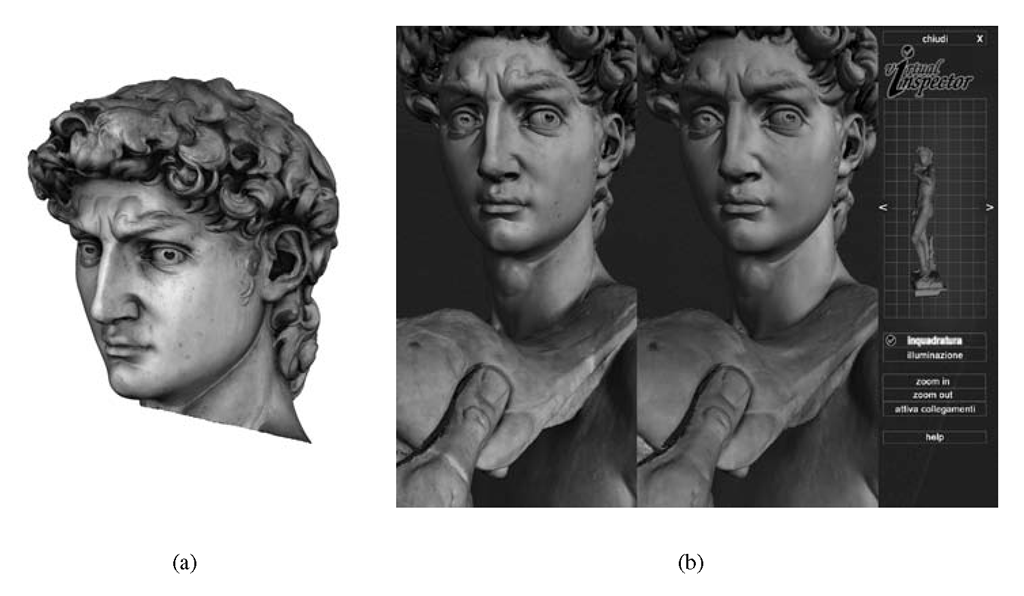 Mapping of photographic sampling on the David's digital model; (a) images rendered with MeshLab on the head portion, or (b) with Virtual Inspector on two complete David models with color coming from the pre- and post-restoration sampling.