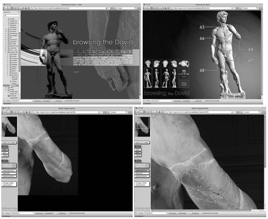 A few snapshots from the web-based system to browse the David's photographic campaign (pre- and post-restoration) and the restorers' reliefs (access to the web browser is unfortunately restricted to authorized users only). The four images present (the order in which the figure are referred is Top-Left , Top-Right, Bottom-Left, Bottom-Right): the home page; one of the selection panels (the one to select the front-view images); snapshot from the presentation interface, with the image depicting the left arm shown at 25% resolution; finally, the same image, presented at 50% of its resolution and with one of the reliefs in overlay.
