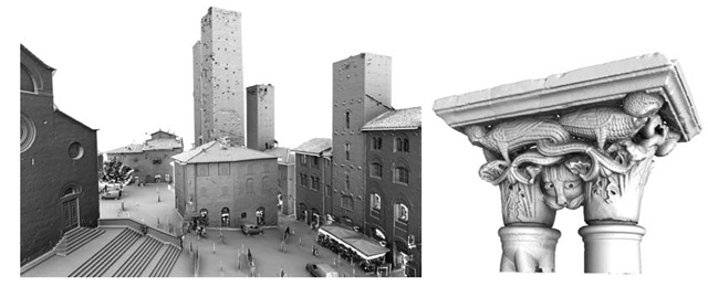 Two examples of results obtained with: a time-of-flight (TOF) scanner, depicting the Dome square at S. Gimignano (Italy); laser-line triangulation scanner, depicting a capitol from the cloister of the Dome at Cefalu (Italy).