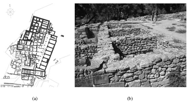 Haghia Triada, village: (a) multilayered plan; (b) House of the Razed Rooms in the current preservation state, view from south west.