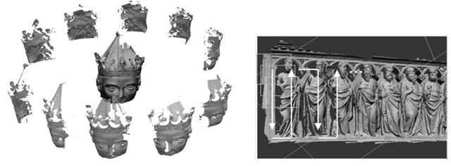 Range maps are often taken according to a regular order: an example of circular radial acquisition performed around a statue's head (left); an example of a raster-scan scanning order adopted for the acquisition of a bas-relief (right).