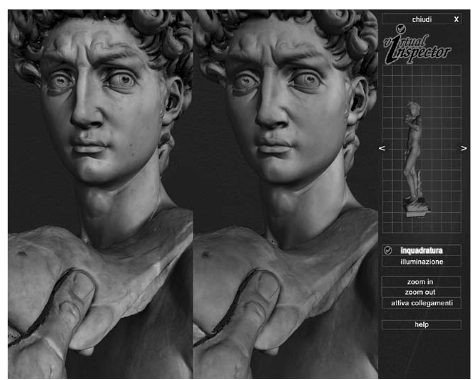 The David model is shown with color mapping; on the left is the pre-restoration status (61 images mapped), while the post-restoration status is shown on the right (another set of 68 images). The two colored David models are rendered in real time with the Virtual Inspector system [56].