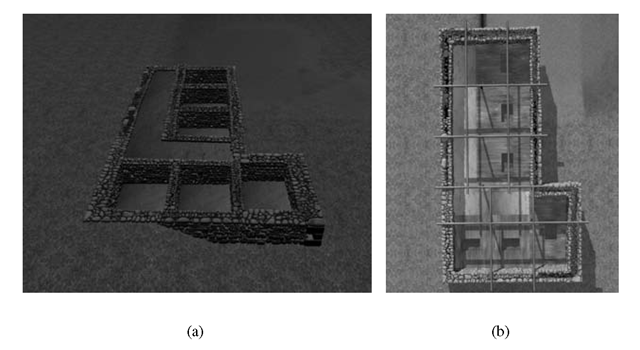 (a) Virtual replica of the House of Razed Rooms; (b) architectural study of the wooden floor with trapdoors and of the roof beams system on the virtual model.