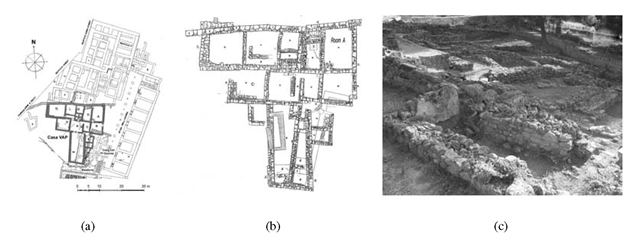 Haghia Triada, village: (a) Multilayered plan; (b) detailed plan of the VAP House; (c) VAP House in the current preservation state, view from south west.