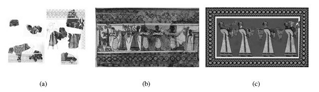 Vap House, Room A: (a) Fragments of the procession fresco; (b) procession scene on the Haghia Triada Sarcophagus; (c) virtual color reconstruction of the procession fresco.