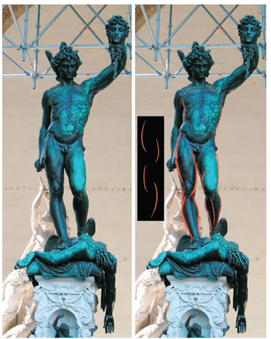 In this image of Cellini's Perseus, I have indicated the alternating curves that establish a sense of rhythm down the length of the figure. Notice how they alternate, as in the inset image.