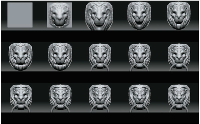 These images show the progression of the lion head sculpture from the most basic, broad strokes down to the finer lines.