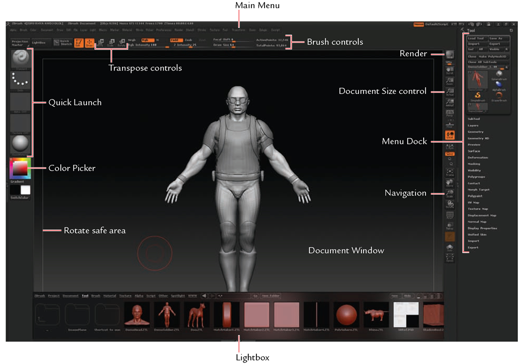 The ZBrush interface