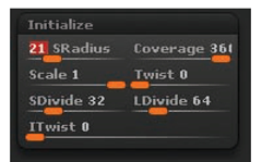 The Initialize menu allows you to change aspects of the ZBrush primitives before they are converted to polymeshes.