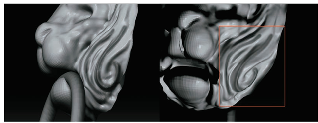 With double-sided rendering on, you can sculpt from inside the model as well as outside for reaching tight areas. (The right image shows the mask stroke as seen from the back of the mesh.)