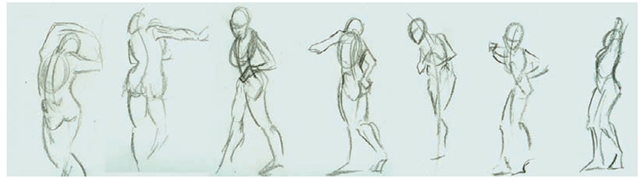 A selection of gesture sketches