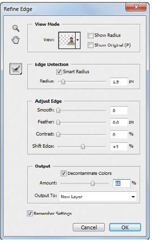The ability to create accurate selections is made easier with the Edge Detection controls in the updated Refine Edgedialog box.