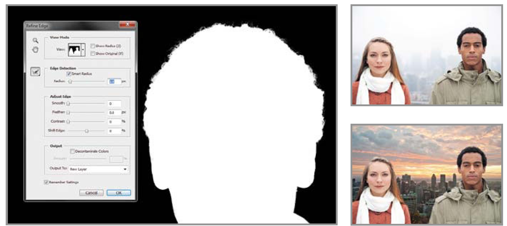 The Edge Detection and Decontaminate Colors features help you make highly precise selections of complex subjects quickly and easily, enabling faster, more accurate compositing of multiple images. Top Right: Original. Left: After refining the selection edge in Photoshop CS5. Bottom Right: Extracted subject combined with new background.