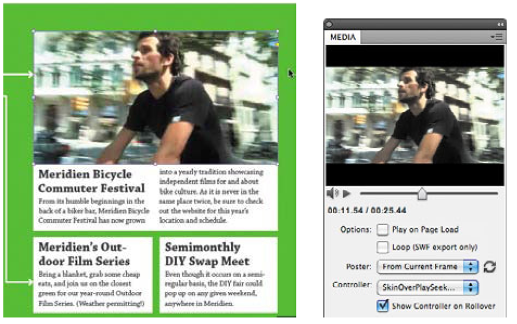Entice viewers to watch an embedded video by selecting a frame to represent it on an InDesign CS5 layout.