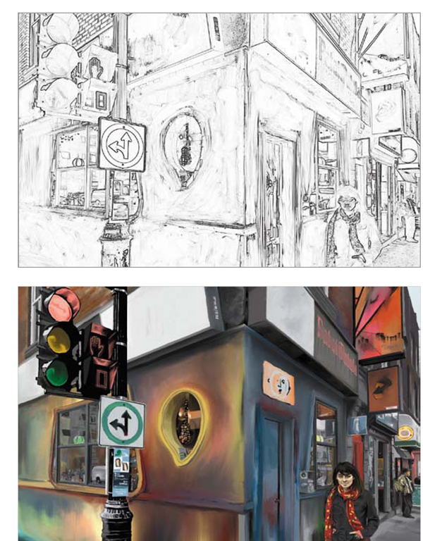 The new Mixer Brush in PhotoshopCS5 helps make it easyto take a sketch and turn it into a painting.