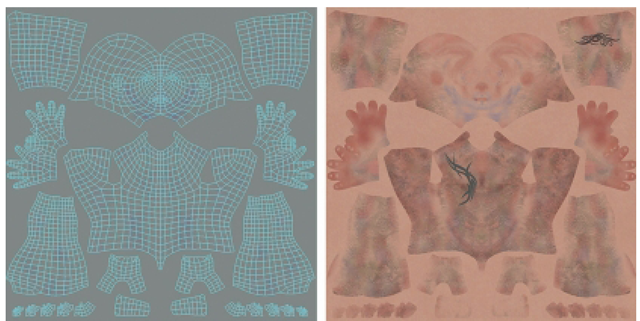 Models to Be Painted In Mudbox Must Be UV Mapped. In This Figure, You Can See the Correlation of the Model's UV Map and the Diffuse or Color Textures Painted in Mudbox (Diffuse Maps Are Shown as One Layer for Clarity).