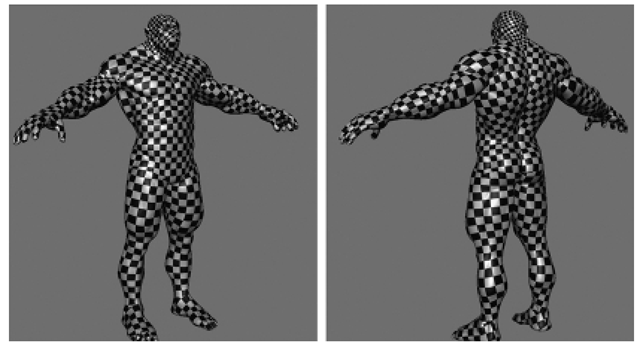 A Checkered Pattern May Be Used to Visually Check for Distortions, Seams, and Properly Proportioned UVs. The Checkers Are Smaller on the Head because the Head Takes Up More UV Space.
