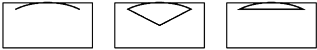 An arc of an ellipse, a segment and an arc with its corresponding chord