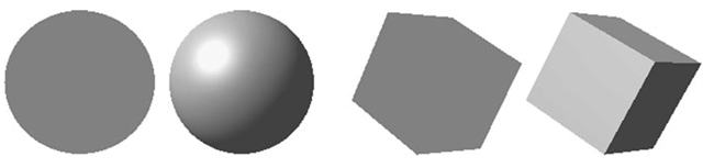 Objects with and without illumination and shading effects