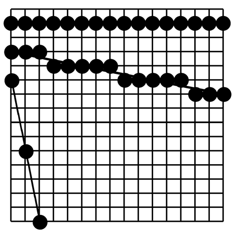 Lines resulting from the naïve line drawing algorithm
