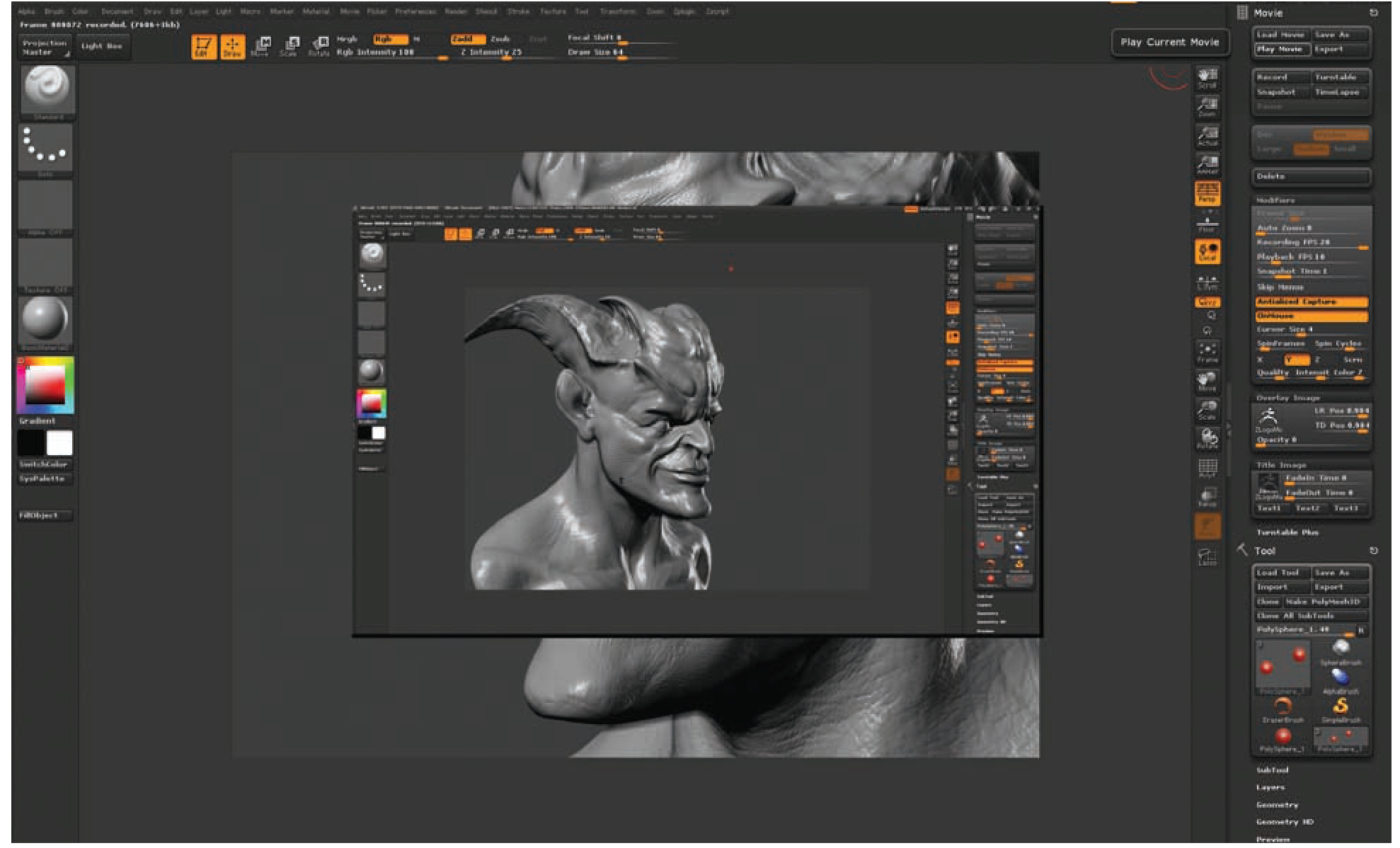 Figure 8 5 Movies play inside the ZBrush interface Zbrush Interface