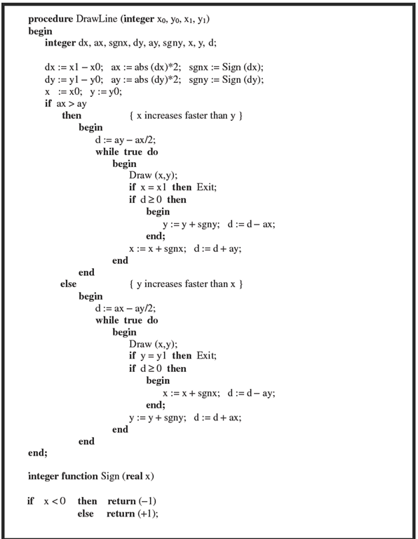 Line Drawing Algorithm Vhdl : Raster algorithms basic computer graphics part