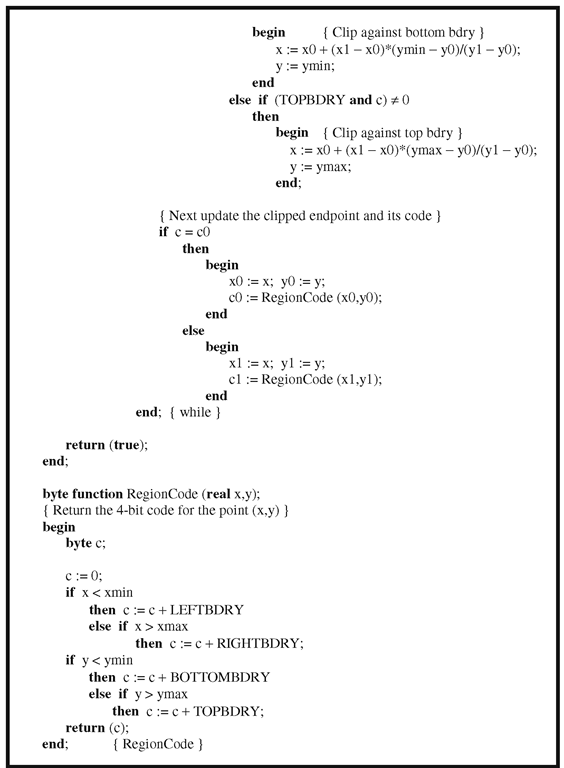The Cohen-Sutherland line-clipping algorithm.