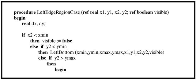 The edge region case of the Nicholl-Lee-Nicholl line-clipping algorithm.