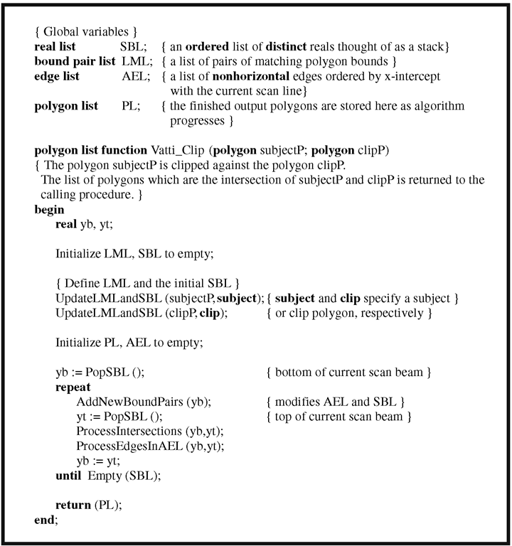 The Vatti polygon-clipping algorithm.