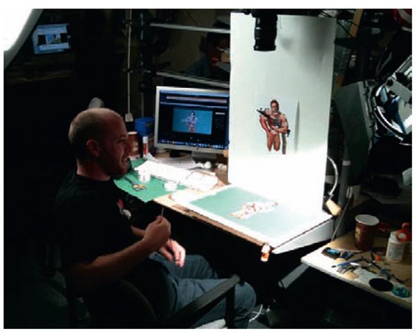 A shot of animator Kevin Elam at JibJab on their custom downshooter.