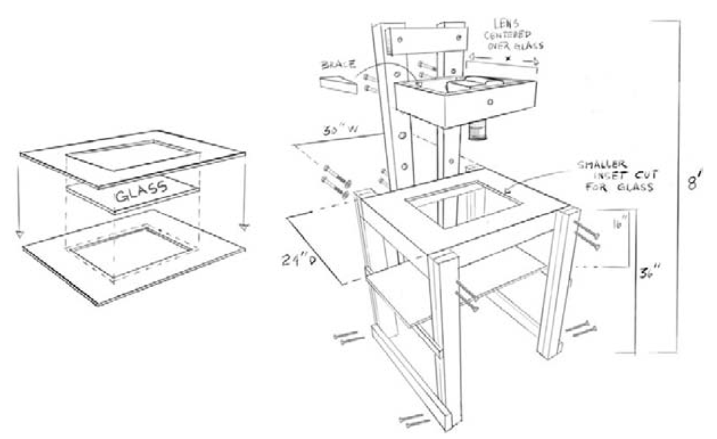 """A diagram of a rudimentary 2"""" x 4"""" downshooter stand."""
