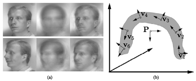 Parametric versus view-based eigenspace methods. a Reconstructions of the input image (left) with parametric (middle) and view-based (right) eigenspaces. Top: training image; bottom: novel (test) image. b Difference in the way the two approaches span the manifold
