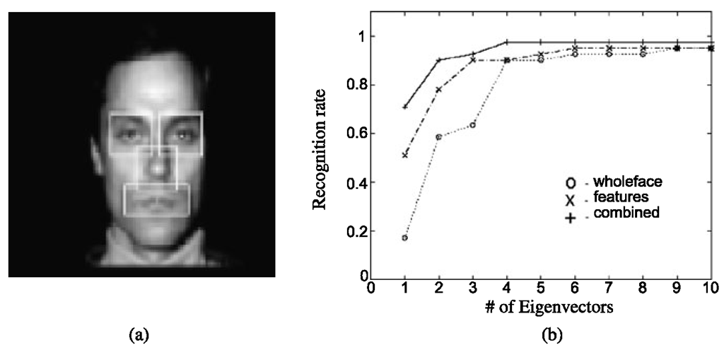 Modular eigenspaces. a Rectangular patches whose appearance is modeled with eigen-features. b Performance of eigenfaces, eigenfeatures, and the layered combination of both as a function of subspace dimension.