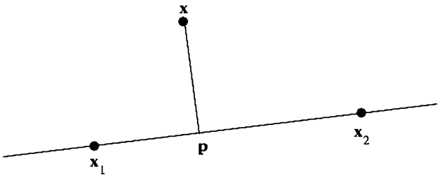 Point p is the projection of query x onto the feature line