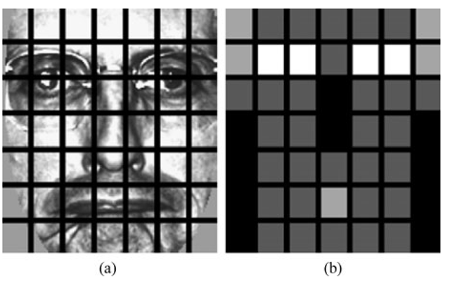 a An example of a facial image divided into 7 x 7 windows. b The weights set for weighted χ 2 dissimilarity measure. The black squares indicate weight 0.0, dark gray 1.0, light gray 2.0 and white 4.0