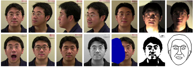 Intra-subject variations in pose, illumination, expression, occlusion, accessories (e.g., glasses), color, and brightness.