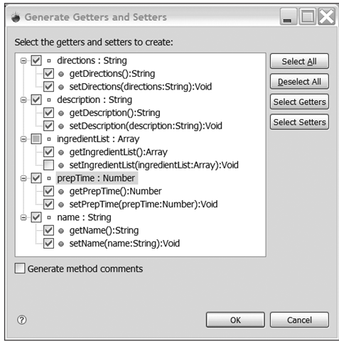 The Generate Getters and Setters dialog box is used to automatically create some boilerplate methods.