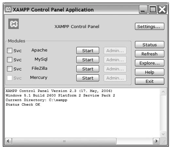 The XAMPP Control Panel is used to start and stop your development web server.