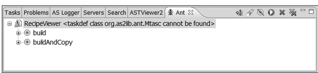 The Eclipse Ant panel displaying the build script