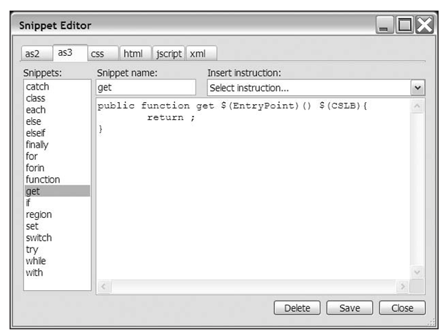 The FlashDevelop Snippet Editor dialog box