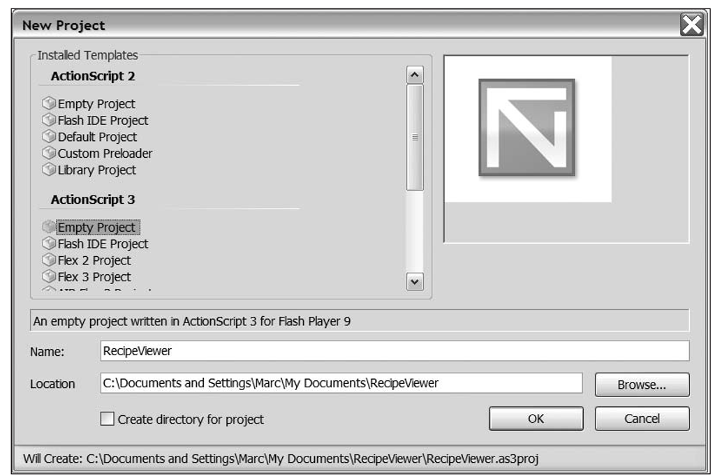 The FlashDevelop New Project dialog box