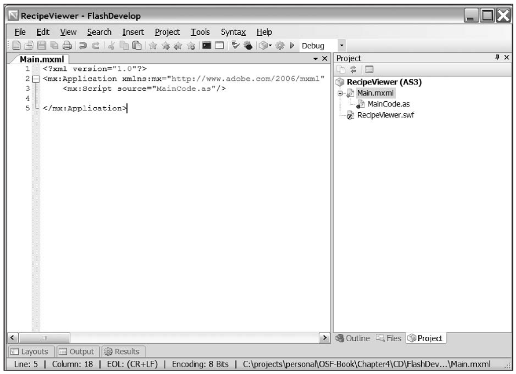 The FlashDevelop workspace after creating the Recipe Viewer application