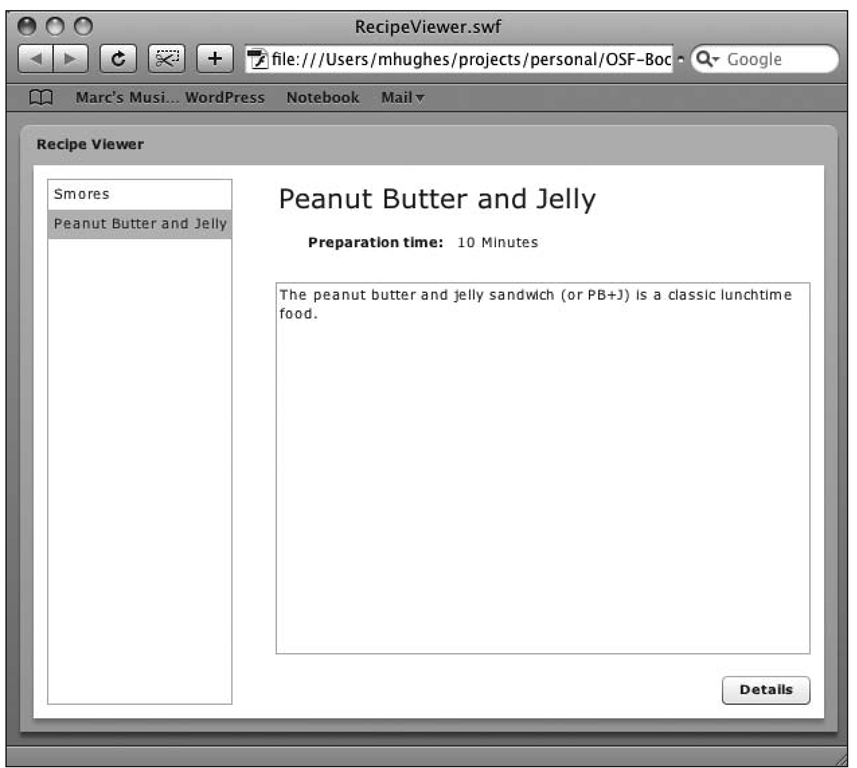 The Flex-based Recipe Viewer application running in a web browser