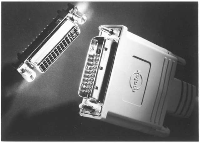 "The VESA Plug & Display Connector, or ""P&D,"" was a modification of the original VESA Enhanced Video Connector, with the intention of supporting both analog and digital display interfaces on a single physical connector."